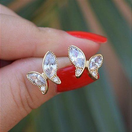 Brinco borboleta zircônia ouro semijoia 16K04021