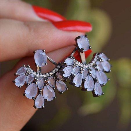Brinco ear jacket cristal lilás leitoso ródio negro semijoia