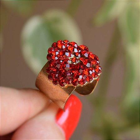 Anel ajustável Leticia Sarabia cristal vermelho