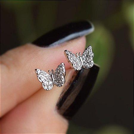 Brinco mini borboleta zircônia ródio semijoia 19k14035