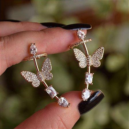 Brinco ear cuff borboleta zircônia ouro semijoia