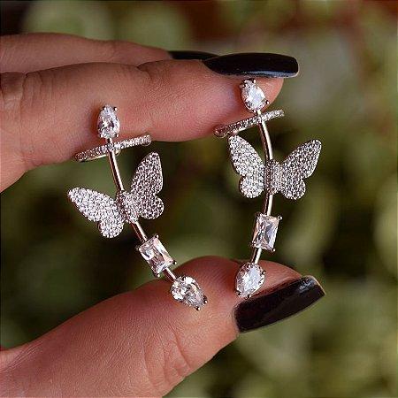 Brinco ear cuff borboleta zircônia ródio semijoia