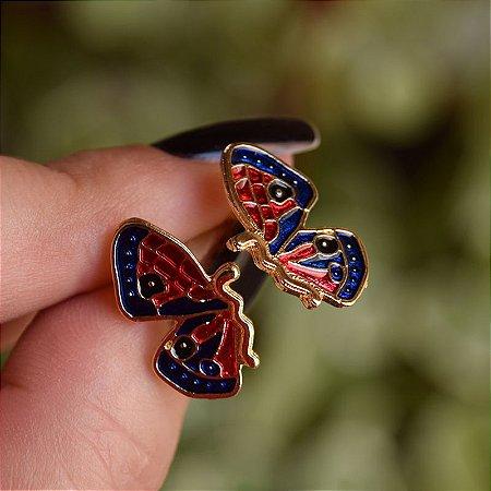 Brinco borboleta esmaltada vermelho e azul dourado
