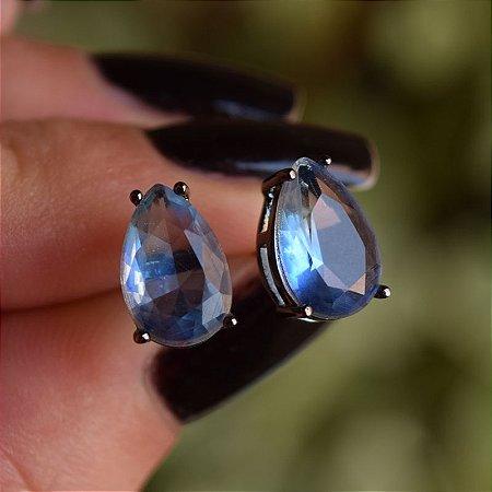 Brinco gota cristal azul ródio negro semijoia