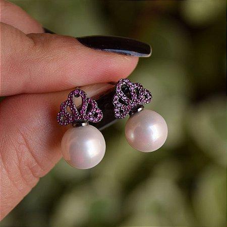 Brinco coroa pérola zircônia rosa ródio negro semijoia