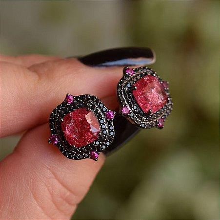 Brinco cristal fusion vermelho zircônia black ródio negro semijoia