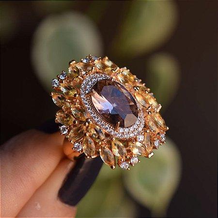 Anel oval cristal amarelo zircônia ouro semijoia