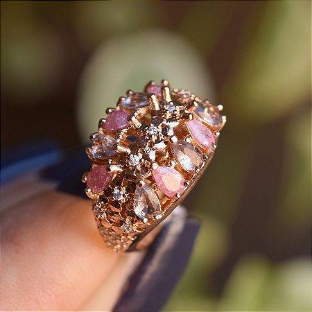 Anel zircônia rosa e lilás ouro rosê semijoia