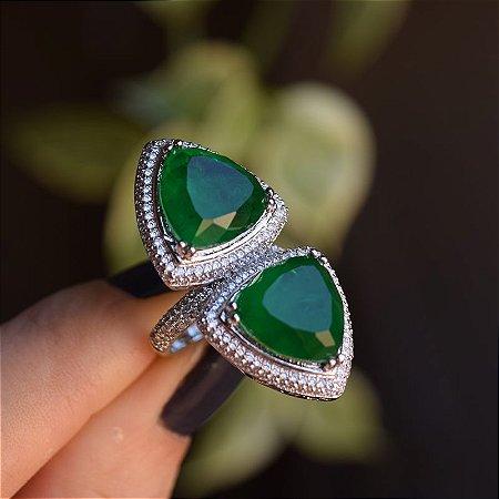 Anel cristal verde zircônia ródio semijoia