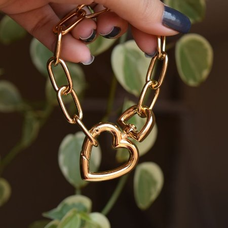 Pulseira elos corrente coração ouro semijoia