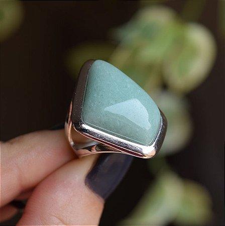Anel geométrico pedra natural quartzo verde ródio semijoia