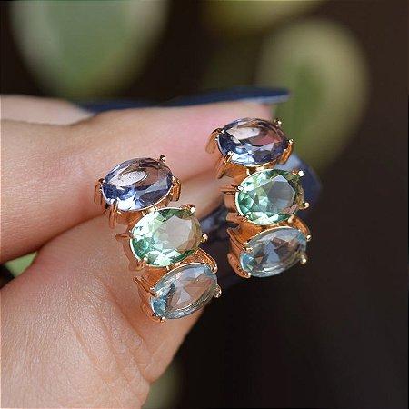 Brinco 3 cristais coloridos ouro semijoia