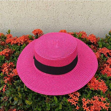 Chapéu praia palha pink