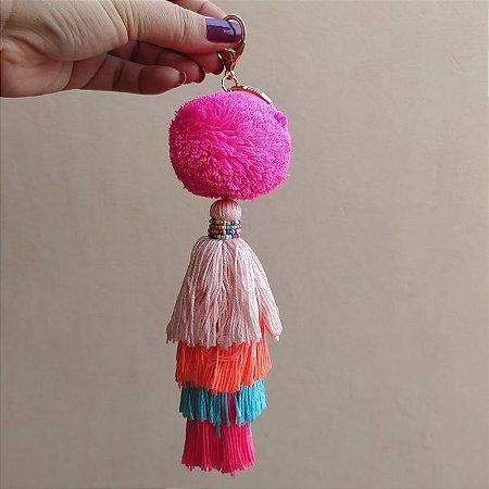 Chaveiro pompom pink tassel colorido