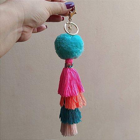 Chaveiro pompom azul tassel colorido