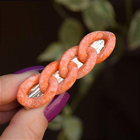 Presilha bico de pato corrente tie dye laranja