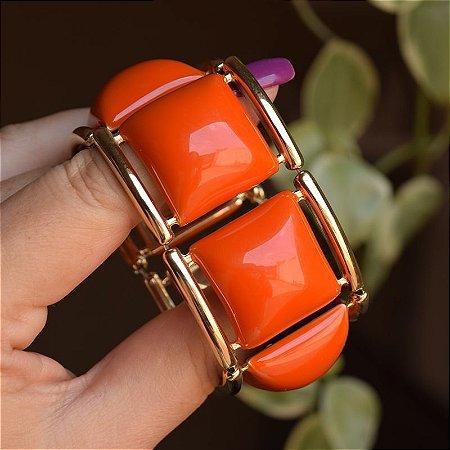 Bracelete resina coral com dourado