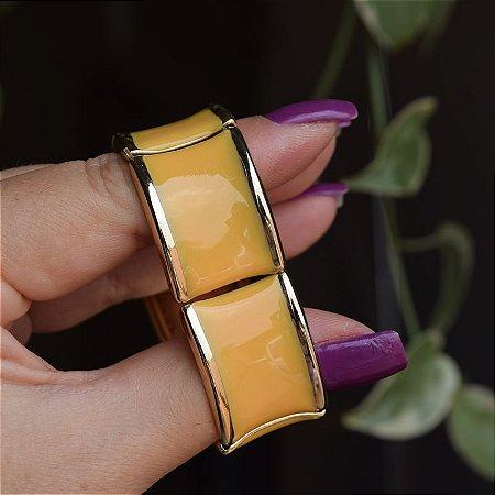 Bracelete metal esmaltado amarelo com dourado
