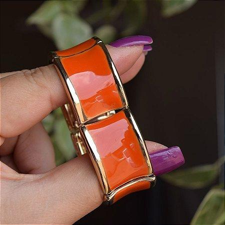 Bracelete metal esmaltado laranja com dourado