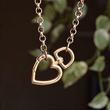 Colar elos corrente coração ouro semijoia