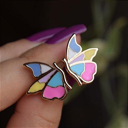 Brinco borboleta esmaltada colorida semijoia