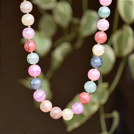 Colar bolas cristais coloridos semijoia