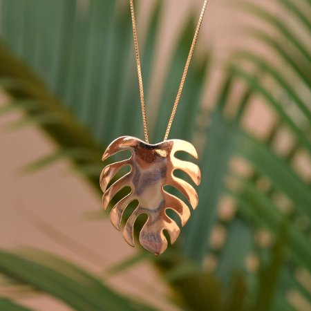 Colar folha Costela de Adão ouro semijoia