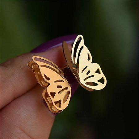 Brinco asa dupla borboleta ouro semijoia