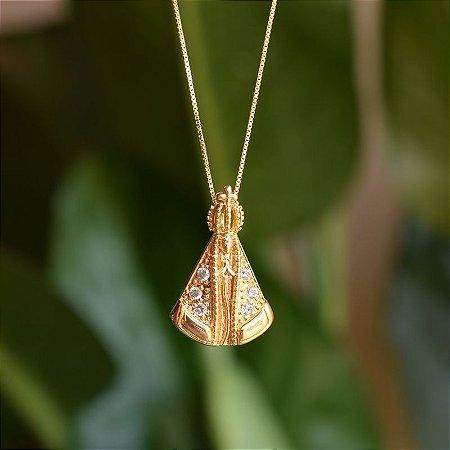 Colar Nossa Senhora Aparecida zircônia ouro semijoia