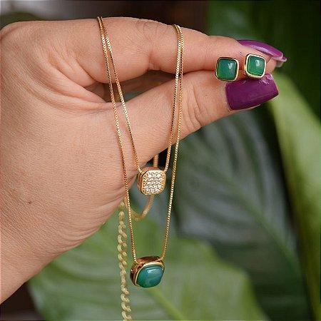 Colar duplo e brinco quadrado pedra natural ágata verde ouro semijoia