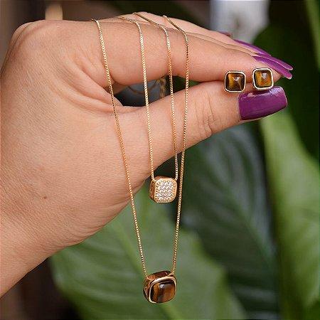 Colar duplo e brinco quadrado pedra natural olho de tigre ouro semijoia