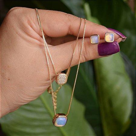 Colar duplo e brinco quadrado pedra natural opalina ouro semijoia