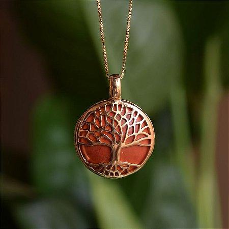 Colar árvore da vida g pedra natural howlita vermelha ouro semijoia