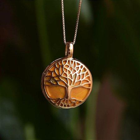 Colar árvore da vida g pedra natural howlita amarela ouro semijoia