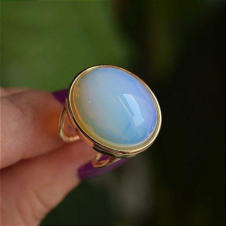 Anel ajustável oval pedra natural opalina ouro semijoia