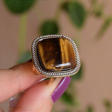 Anel ajustável quadrado pedra natural olho de tigre ouro semijoia