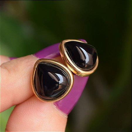 Brinco gota pedra natural ágata preta ouro semijoia