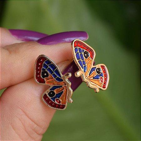 Brinco borboleta esmaltada colorida dourado
