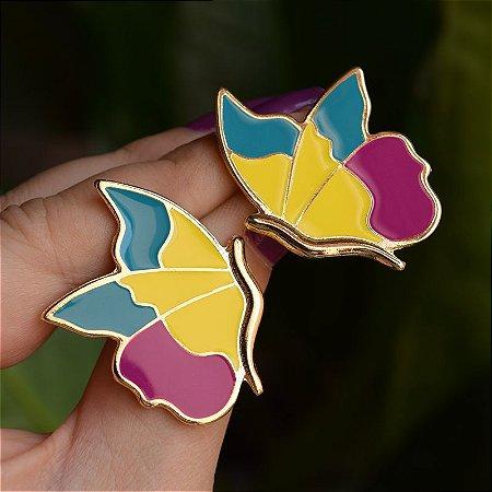 Brinco borboleta metal esmaltado colorido dourado