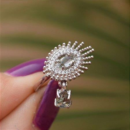 Anel Claudia Arbex zircônia e cristal aquamarine prata semijoia