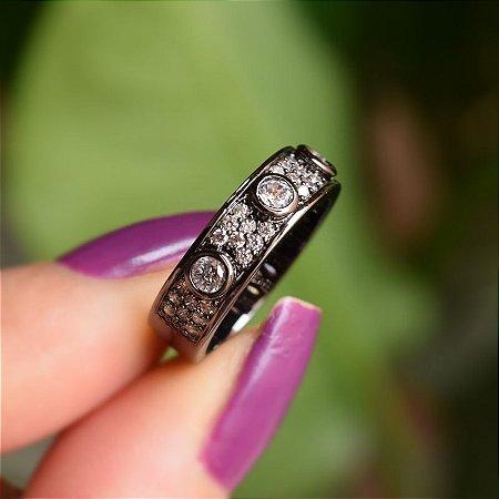 Anel zircônia cristal ródio negro semijoia
