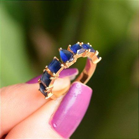 Anel meia aliança zircônia azul marinho ouro semijoia