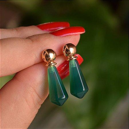 Brinco geométrico pedra natural ágata verde ouro semijoia