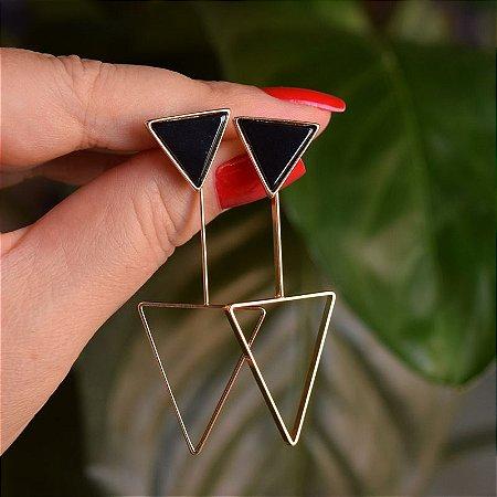 Brinco 2 em 1 triângulo invertido pedra natural ágata preta ouro semijoia