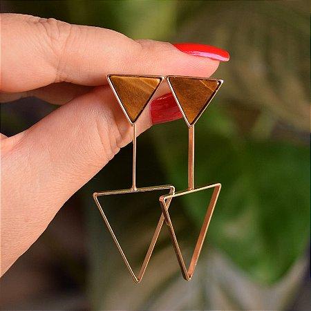 Brinco 2 em 1 triângulo invertido pedra natural olho de tigre ouro semijoia