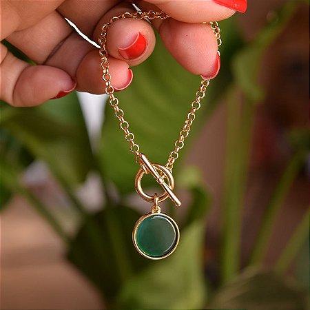 Pulseira pedra natural ágata verde ouro semijoia