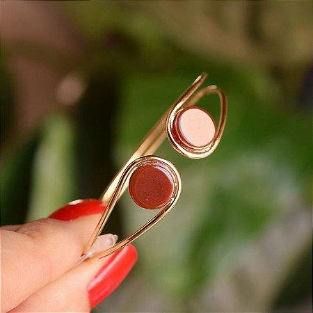 Bracelete ajustável pedra natural ágata vermelha ouro semijoia