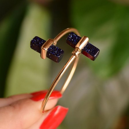 Bracelete ajustável geométrico pedra natural estrela ouro semijoia