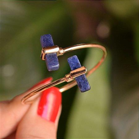 Bracelete ajustável geométrico pedra natural sodalita ouro semijoia