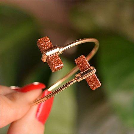 Bracelete ajustável geométrico pedra natural sol ouro semijoia